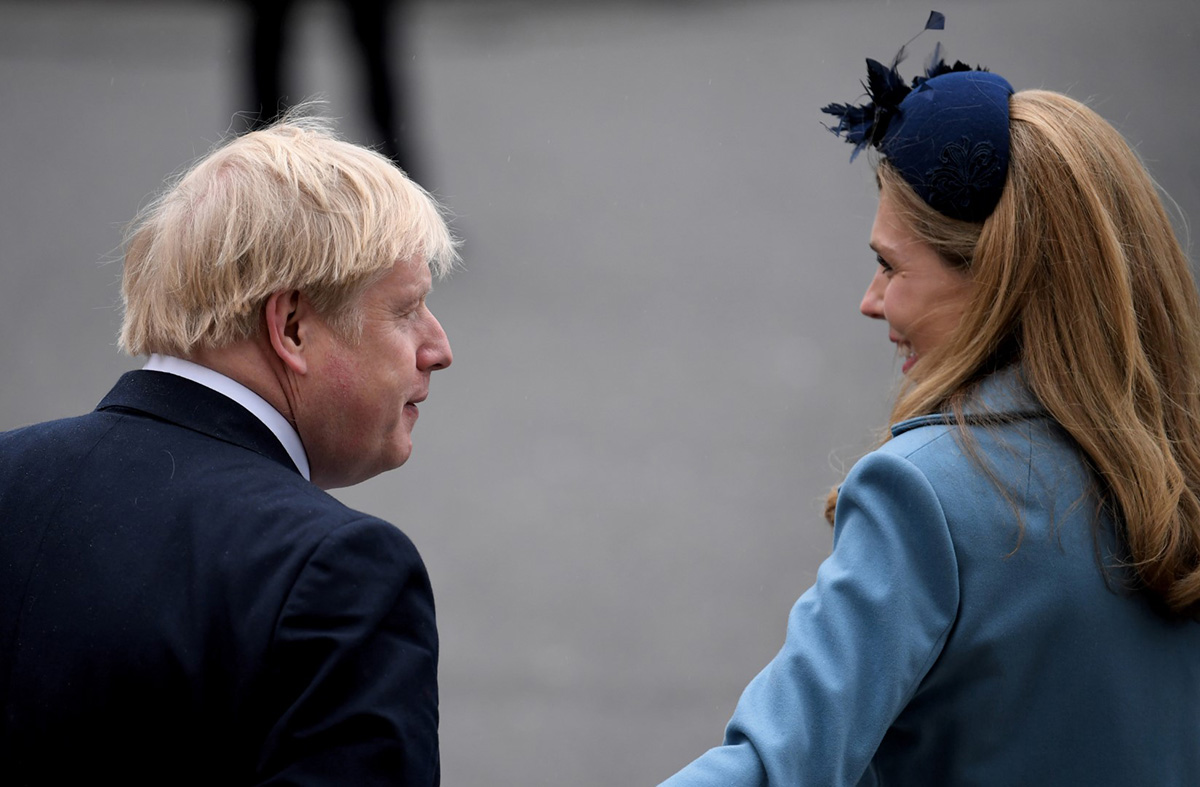 Photo by NEIL HALL/EPA-EFE/Shutterstock (10578012az) Britain's Prime Minister Boris Johnson (L) and his partner Carrie Symonds (R) leave the annual Commonwealth Service at Westminster Abbey